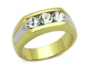 PR6509ZGOC Pánsky oceľový prsteň so zirkónmi