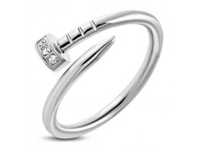 PR8084ZOC Klinček - prsteň z chirurgickej ocele so zirkónmi