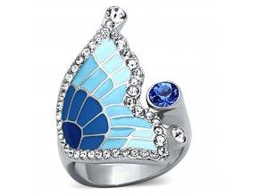 PR8087ZOC Motýľ prsteň z chirurgickej ocele so zirkónmi