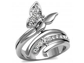 PR8093ZOC Motýlik prsteň z chirurgickej ocele so zirkónmi