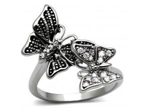 PR8095ZOC Motýle - Prsteň z chirurgickej ocele so zirkónmi