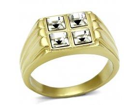 PR8114ZGOC Pánsky prsteň z chirurgickej ocele so zirkónmi