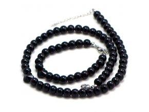 SE3223SWPOC ocelovy set perly.cierne swarovski srdce