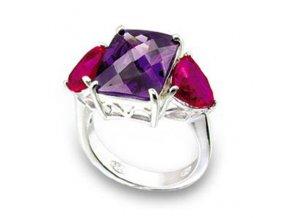 PR0437ZSS strieborny prsten so zirkonmi