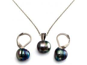 SE3226POC ocelovy set riecne perly sivy