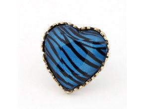 BPR003 modro cierne srdce prsten