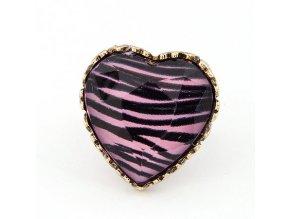 BPR004 ruzovo cierne srdce prsten