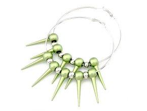 BNA134 zelene ostne nausnice kruhy