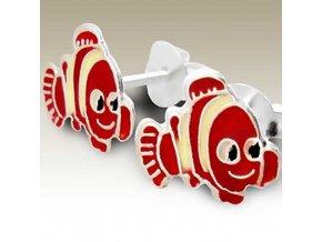 NA006D detske strieborne nausnice cerveny nemo