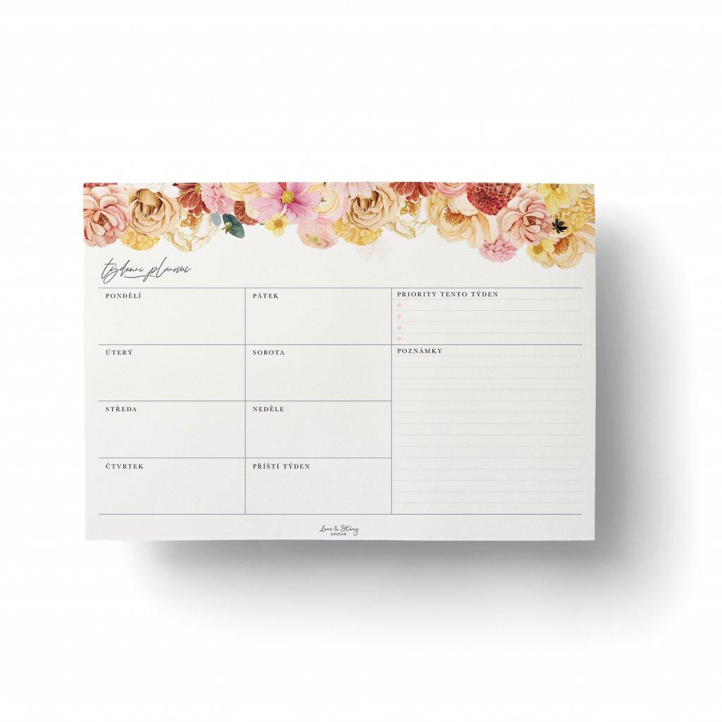 Stolní týdenní plánovač Dusty Flower