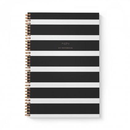 A4 zapisniky black stripes