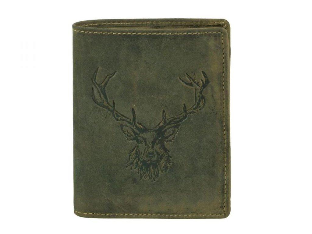 GREENBURRY 1701 Kráľovský jeleň - kožená peňaženka zelená
