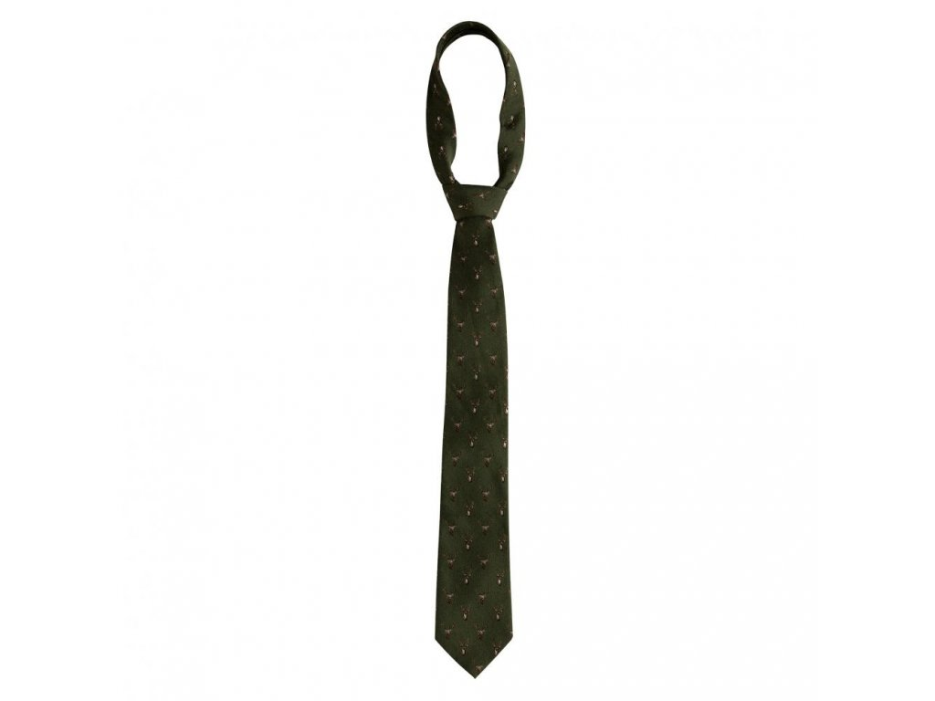DEERHUNTER Tie w. Stag Green   poľovnícka kravata jeleň