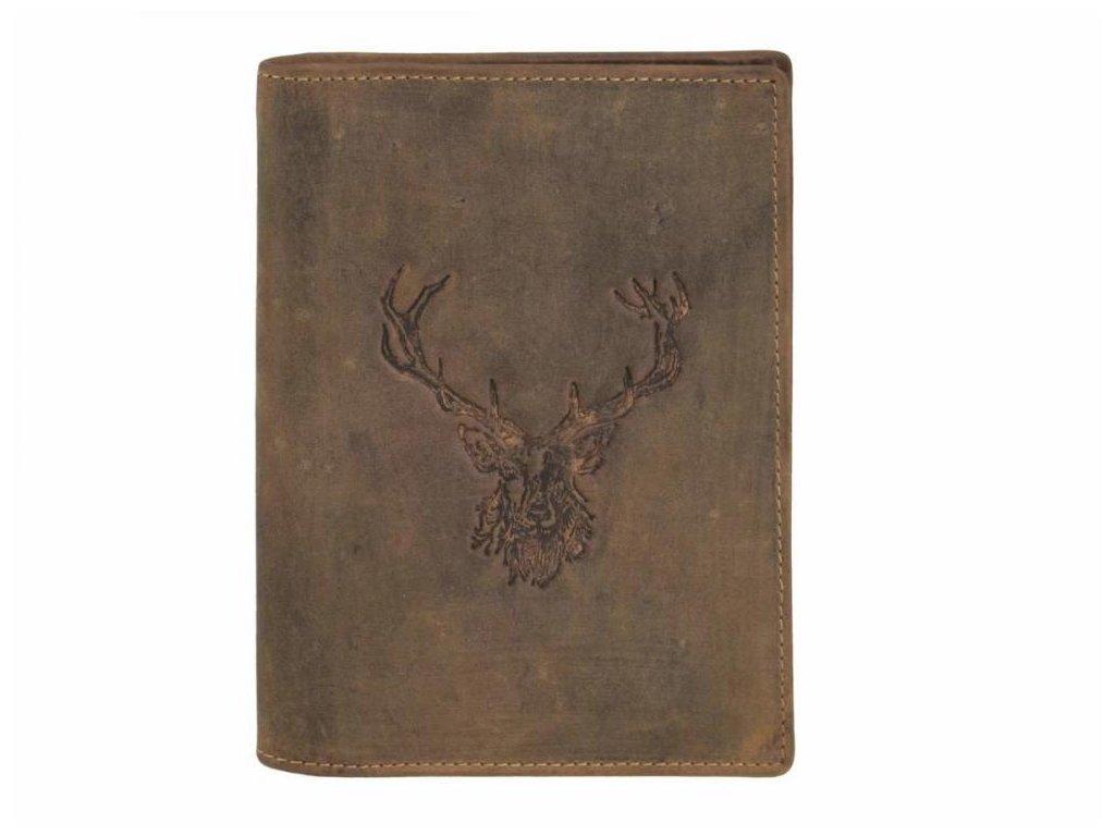 GREENBURRY 328B Kráľovský jeleň - kožený dokladovník hnedý