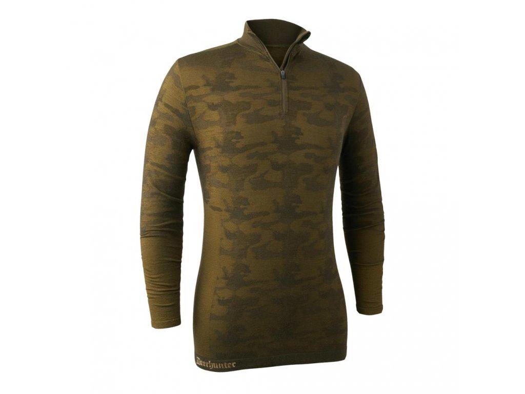 DEERHUNTER Camou Wool Undershirt w. zip-neck | termo nátelník