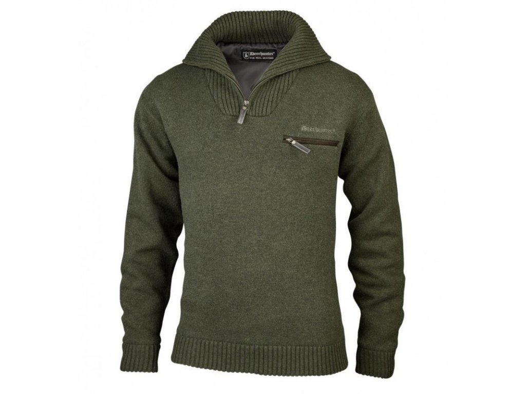 DEERHUNTER Kendal Kint Zip Neck Green | funkčný sveter