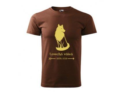 Pánske tričko Hnedé LOVECKÁ VÁŠEŇ