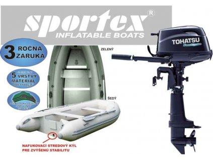 Nafukovací čln SPORTEX 360K + lodný motor 5Hp