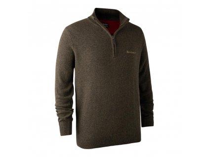 DEERHUNTER Hastings Knit Zip-neck Elm | poľovnícky sveter