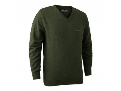 DEERHUNTER Brighton Knit V-neck Green | poľovnícky sveter