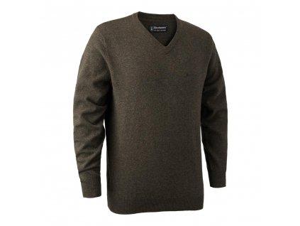 DEERHUNTER Brighton Knit V-neck Elm | poľovnícky sveter