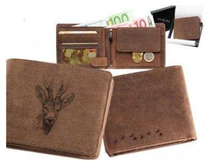 Kožená peňaženka srnec hlava ležatá