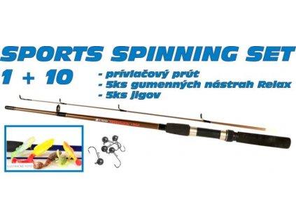 SPORTS Spinning set 1 + 10 prút a 5ks nástrah + jigy