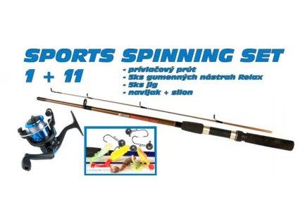 SPORTS Spinning set 1 + 11 prút +nástrahy + navijak 30