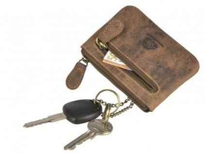 GREENBURRY 1708 - kožená kľúčenka hnedá
