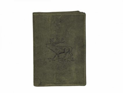 GREENBURRY 328B Jeleň - kožený dokladovník zelený