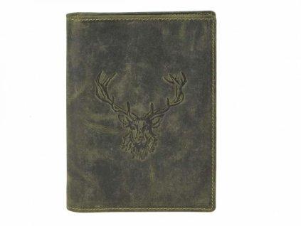 GREENBURRY 328B Kráľovský jeleň - kožený dokladovník zelený