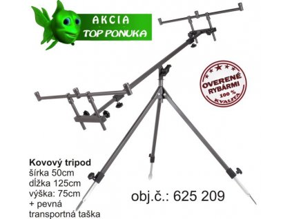 Rybársky Tripod kovový šírka:50, dĺžka:125, výš:75cm
