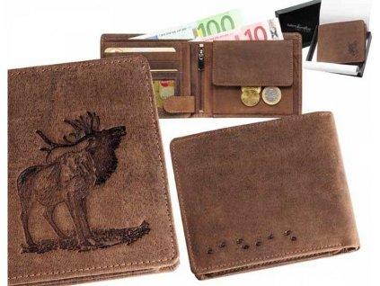 Kožená peňaženka jeleň v ruji ležatá