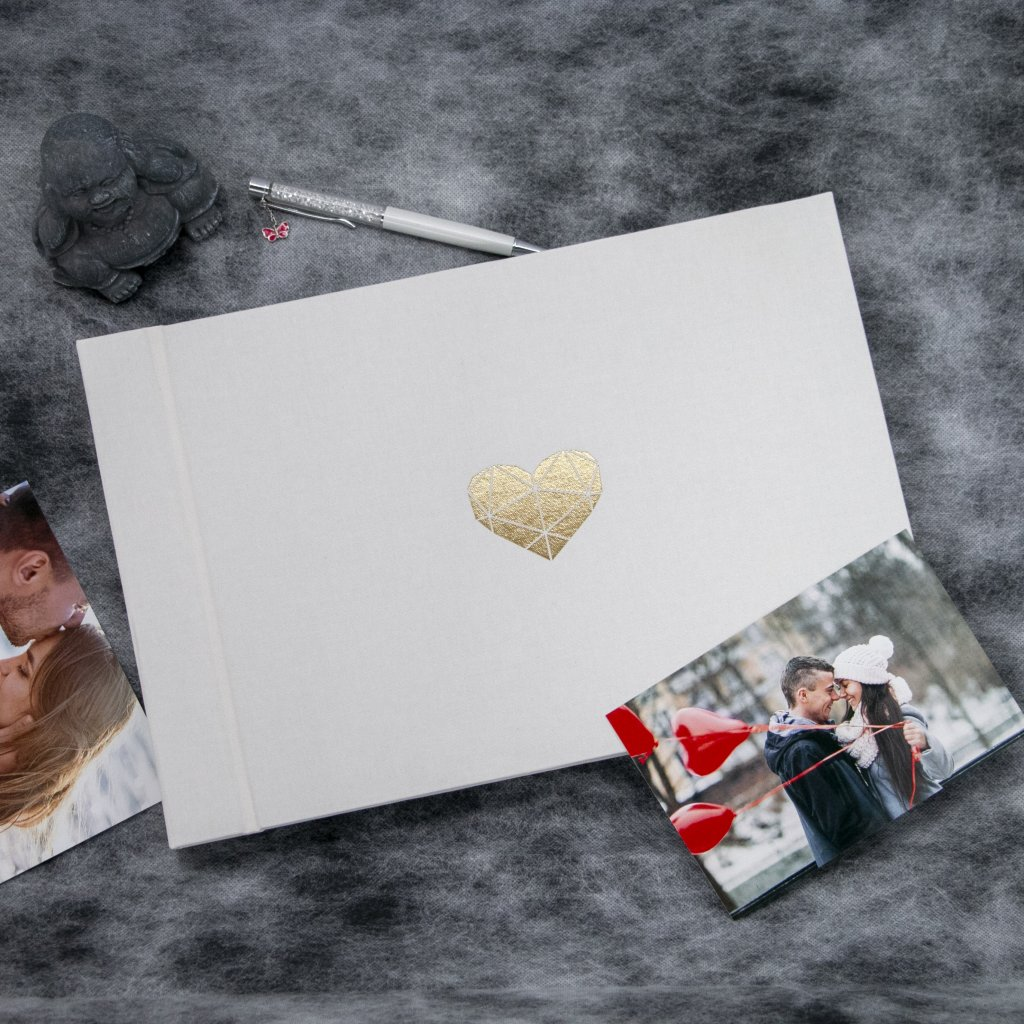Fotoalbum srdce - bílé
