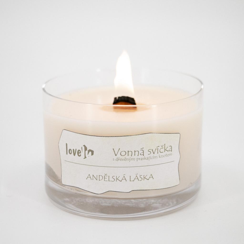 Svíčka s dřevěným knotem - Andělská láska