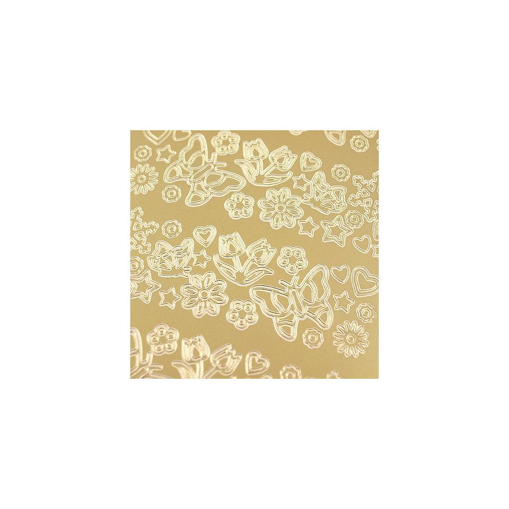 pol pl Stickers azurowy zloty 10x23 cm kwiatuszki 15785 2