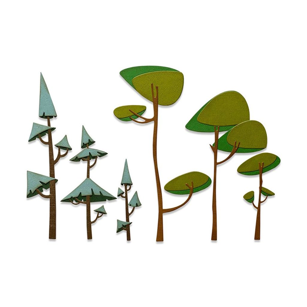 Stromy - vyřezávací kovové šablony Thinlits (6ks)
