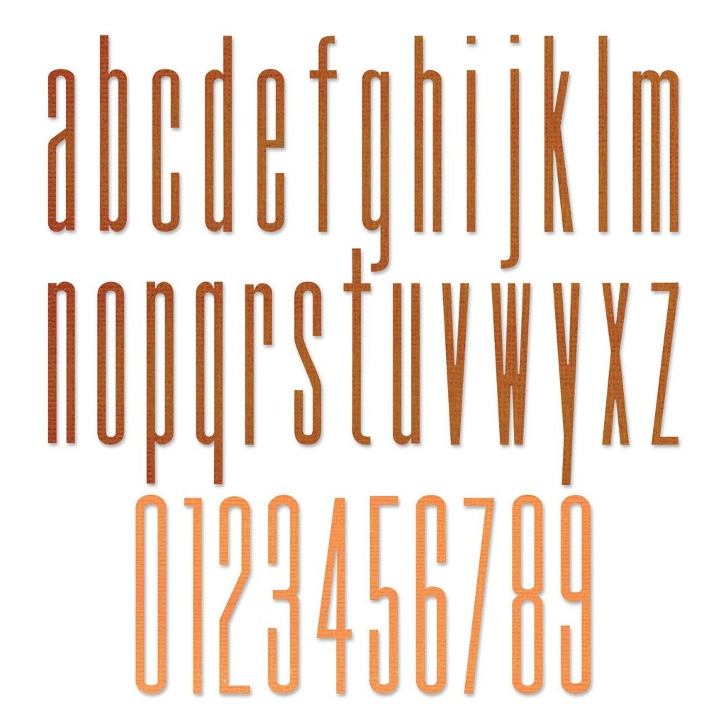 Písmena malá a čísla - vyřezávací kovové šablony Thinlits (36ks)