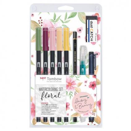 abt dual brush pen watercolouring set floral