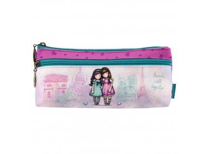 776GJ01 Gorjuss Cityscape Zipped Pocket Pencil Case Friends Walk Together 1 WR