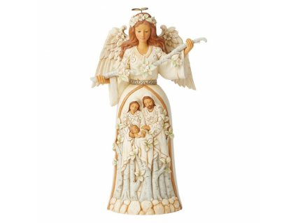 Breath of Heaven (White Woodland Nativity Angel Figurine)