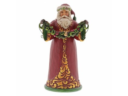 Evergreen Cheer (Red and Green Santa Holding Garland)