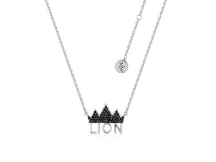 Disney The Lion King Crown Necklace White Gold Front View DLSN205 400x