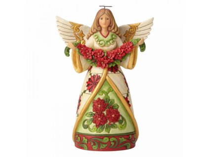 Winter Beauty In Bloom (Angel with Poinsettia Garland)
