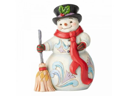 Swept Up In The Season (Snowman with Broom and Long Scarf Fi