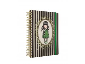 767GJ02 Gorjuss Classic Stripes Large Wirobound Notebook The Scarf 1 WR