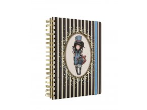 767GJ01 Gorjuss Classic Stripes Large Wirobound Notebook The Hatter 1 WR