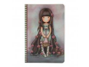 314GJ26 Gorjuss A5 Stitched Notebooks Rosebud Front wr