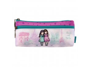 776GJ01 Gorjuss Cityscape Zipped Pocket Pencil Case Friends Walk Together 1 WR