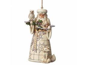 White Woodland Santa (Ornament)